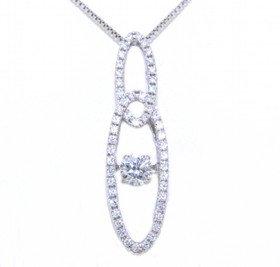 83210018 Sterling Silver  Rhythm Of Love CZ Double Oval Drop Pendant with Chain
