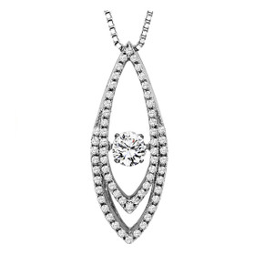 14K White Gold Rhythm of Love Diamond Necklace 31000492