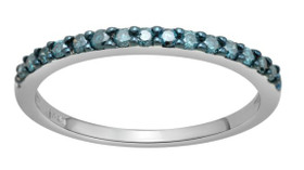 14K White Gold color treated Blue Diamond Stackable Ring 11003803