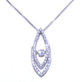 Sterling Silver Rhythm of Love CZ Drop Link Necklace 83210027