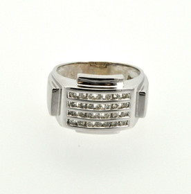 14K White Gold Diamond Men's Ring 11003617