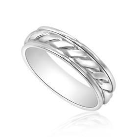 14K White Gold Wedding Band 10000716