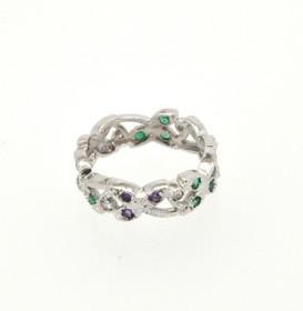 14K White Gold Amethyst/Emerald/Diamond Size 7 Ring 12002131