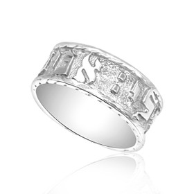 14K White Gold Hebrew Blessing Wedding Band 10000643