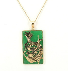 14K Yellow Gold Jade Dragon Charm