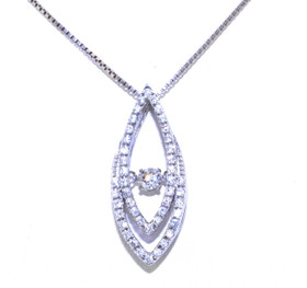 Sterling Silver Rhythm of Love CZ Fancy Drop Necklace 83210032
