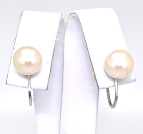 14K White Gold Pearl Non-Pierce Earrings 42000593