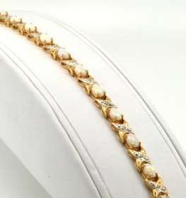 "14K Yellow Gold Opal & Diamond 7.25"" Bracelet 22000535"