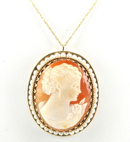 14K Yellow Gold Cameo Pendant/Pin with Pearls 52001446