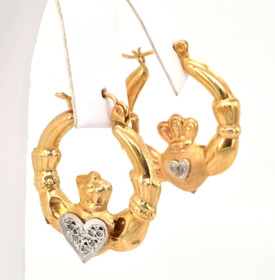 14K Yellow Gold Diamond Claddagh Hoop Earrings 41001036-E