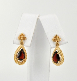 14K Yellow Gold Garnet Post Back Earrings  42001984