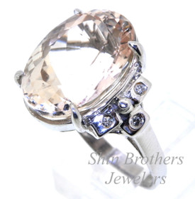 14K White Gold Diamond & Morganite Ring 12002204