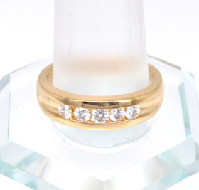 14K Yellow Gold Mens 0.50ctw 5-Diamond Wedding Band 11002364