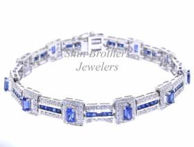 14K White Gold Diamond and Sapphire Bracelet  22000215