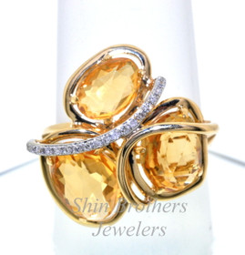 14K Yellow Gold Diamond and Citrine Ring 12002208