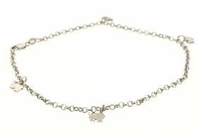 "14K White Gold Dangle Elephant 9.5"" Anklet 20001192"