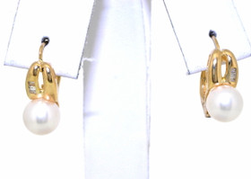 14K Yellow Gold Diamond and Pearl Lever Back Earrings 42002169
