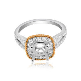 18K Two Tone Gold Diamond Engagement Ring Setting