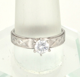 10K White Gold CZ Engagement Ring 19000048
