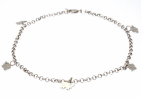 "14K White Gold 9.5"" Dangling Elephant Anklet 20000051"