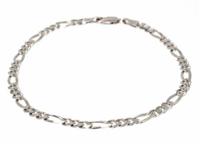 "14K White Gold 10"" Figaro Chain Anklet 20000885"