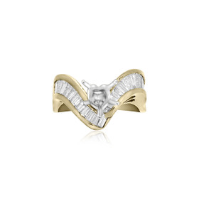 14K Yellow Gold V Shape Diamond Engagement Ring Setting