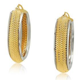 14K Yellow and White Gold Fancy Hoop Earrings