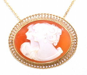 14K Yellow Gold Coral Oval Cameo Pendant/Pin 53000035