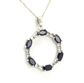 10K White Gold Synthetic Sapphire CZ Circle Pendant 59000168