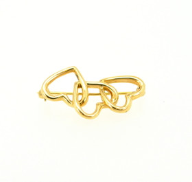 18K Yellow Gold Triple Heart Pin 50002082