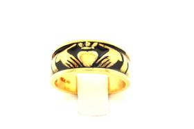 14K Yellow Gold Black Finish Claddagh Ring 12000169