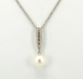14K White Gold Pearl and Diamond Charm 52000824