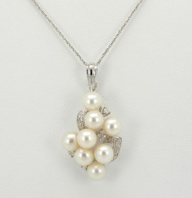 14K White Gold Pearl and Diamond Charm 52000370