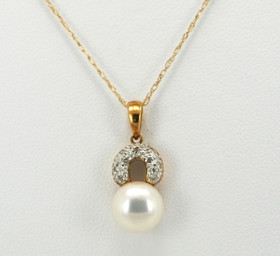 14K Yellow Gold Diamond and Pearl Charm 52000652