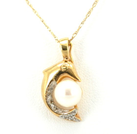 14K Yellow Gold Dolphin Diamond and Pearl Charm 52000629