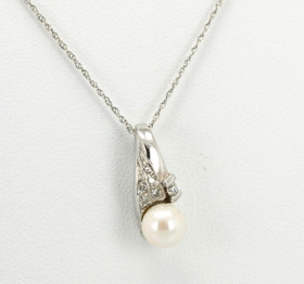 14K White Gold Pearl and Diamond Charm 52000190