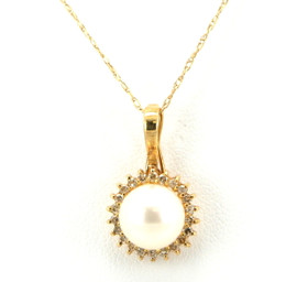 14K Yellow Gold Diamond and Pearl Charm 52000825
