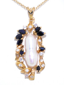 14K Yellow Gold Diamond, 0.60ctw Sapphire and Pearl Charm 52001586