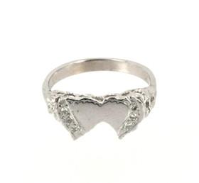 10K White Gold Diamond Double Heart Ring 19000192