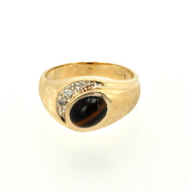 14K Yellow Gold Tiger's Eye and Diamond Men's Ring 12002109