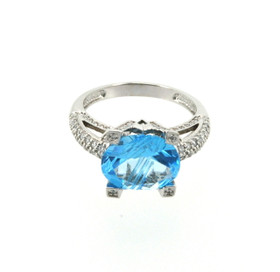 14K White Gold 6ctw Blue Topaz and CZ Ring 12002112