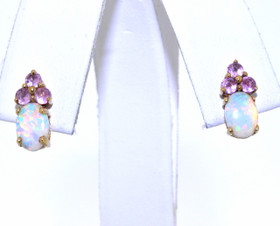 10K Yellow Gold 2.30ctw Opal and Tourmaline Stud Earrings 49210018