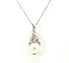 14K White Gold Diamond and Pearl Charm 52001515