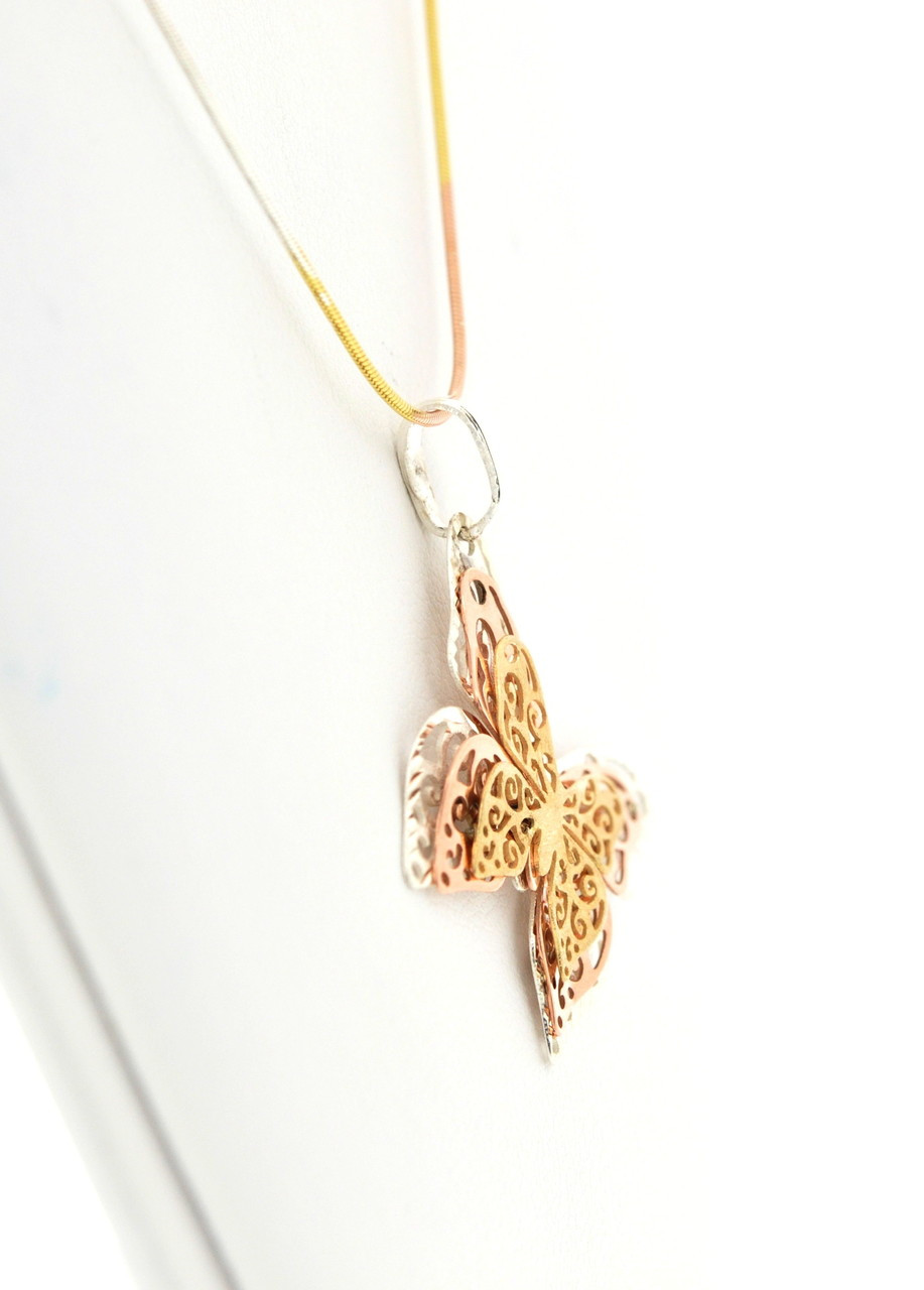 5027def309fbc Sterling Silver and Pink Gold Butterfly Necklace 83010399