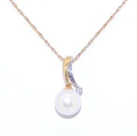 14K Two Tone Gold Pearl Diamond Pendant 52001560