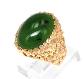 14K Yellow Gold Oval Jade Ring 12002090