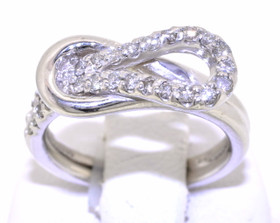 Love Knot silver With .54 Ct Diamond Ring