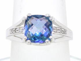 14K White Gold Mystic Topaz Ring 12002225