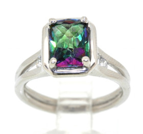 14K White Gold Checkerboard Cut 1.7 CTW Mystic Topaz/Diamond Ring 11003770