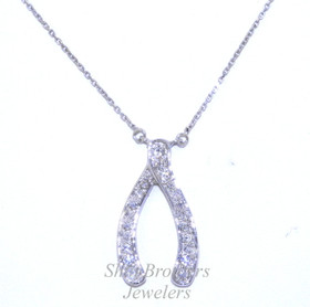 Sterling Silver Diamond Wishbone Pendant Necklace 83010467